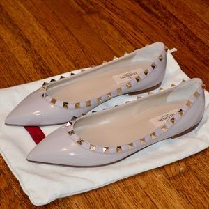 NEW VALENTINO ROCKSTUD PATENT LEATHER BALLET FLATS